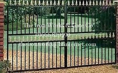 SAXON 11FT OP X 6FT TALL DOUBLE DRIVEWAY GATES WROUGHT IRON MADE TO MEASURE BEST