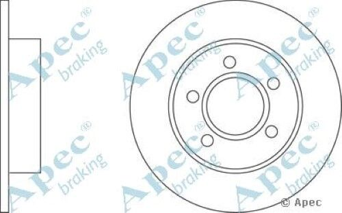 1x OE Quality Replacement Rear Axle Apec Solid Brake Disc 5 Stud 245mm - Single
