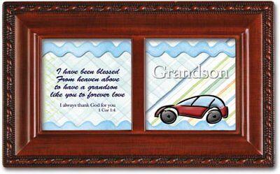Grandson Blessings Woodgrain Inspirational Petite Music Box Plays Jesus Loves Me