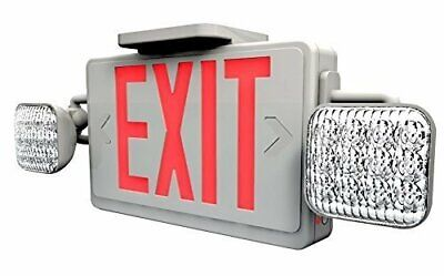 Ciata Lighting Led Red Exit Sign Emergency Light Combo With Battery Backup