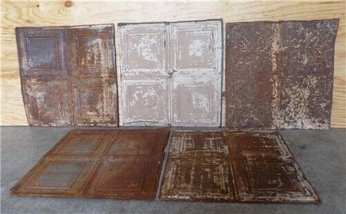 5 Ceiling Tin Panels, Vintage Reclaimed Molding Pieces, Architectural Salvage S,