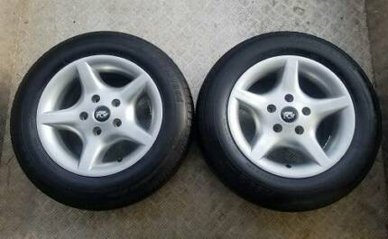 "2 X 15"" ALLOY  HOLDEN WHEELS AND TYRES SPARES OR TRAILER"