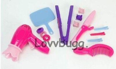 "Lovvbugg Salon Tools Set for 18"" American Girl Doll Hair Hairbrush Accessory"