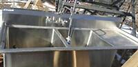 NEW COMMERCIAL SPG DOUBLE SINK WITH SPRINKLER $2500 REDUCED 2000
