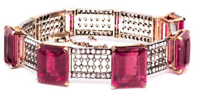 6.30ct ROSE CUT DIAMOND RUBY ANTIQUE VICTORIAN LOOK 925 SILVER BRACELET