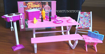 GLORIA DOLL HOUSE FURNITURE SIZE Picnic W/ Benches Table PLAYSET FOR BARBIE