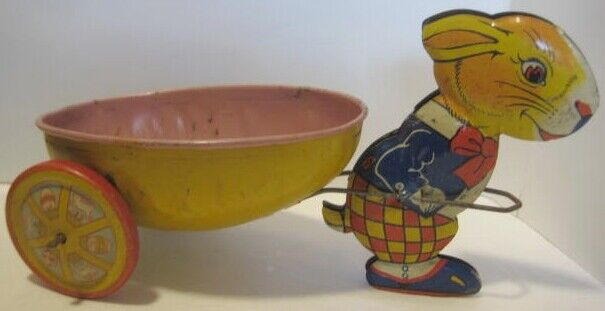 Old 1950s J Chein Tin Bunny Rabbit Egg Wagon Easter Candy Cart Toy