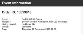 2 RED HOT CHILLI PIPERS TICKETS