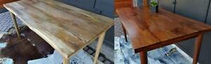"""NEW Solid Wood Contemporary Dining Tables LIVE EDGE 63"""" Seats 8 Mid Century Modern Style"""
