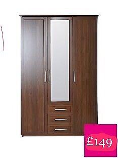 New in Box Oslo 3-Door, 3-Drawer Mirrored Wardrobe