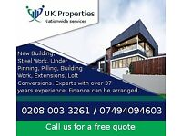 New Building, Steel Work, Under pinning, Pilling, Building Work, Extensions, Loft Conversions ...