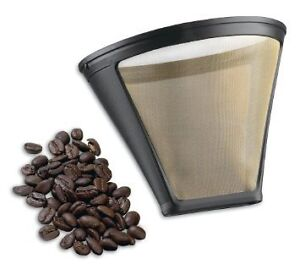 #4 Gold stainless steel drip coffee filter cone-fits all #4 coff