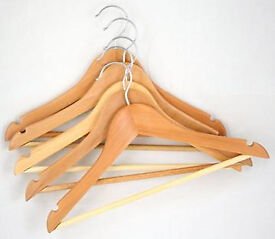 BOX OF 100 wooden coat hangers adult size a-grade HIGH QUALITY hanger top hook wood new