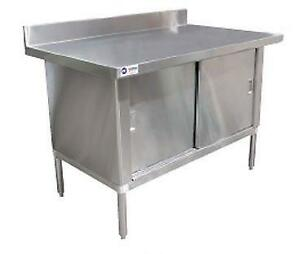 CABINET 30x60 / TABLE / COMPTOIR / RANGEMENT EN STAINLESS ACIER INOXIDABLE AVEC DOSSIER