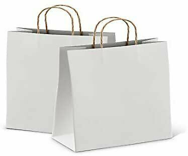 Kraft Paper Shopping Bags White Retail Bags 25-50 Pack Any Size