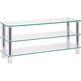 Hygena Matrix TV Bench - Clear Glass