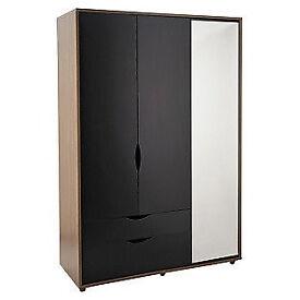 Hygena Berkeley Black & Walnut 3 Door 2 Drawer Mirror Wardrobe