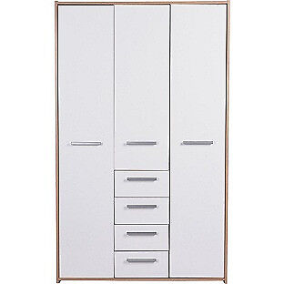 New Sywell 3 Door 4 Drawer Wardrobe - Oak Effect and White