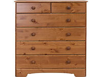 Fully assembled Nordic 4+2 Drawer Chest - Pine