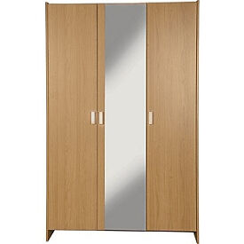 New Capella 3 Door Mirrored Wardrobe - Oak Effect