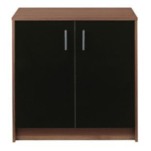 Caspian Double Door Cupboard - Walnut and Black