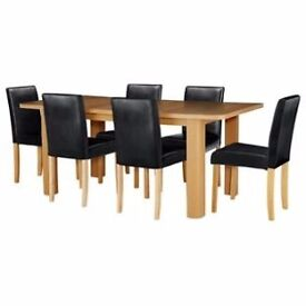 Shenley Oak Veneer Extendable Table & 6 Black Chairs