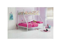 Metal Triple Bunk Bed Frame - White