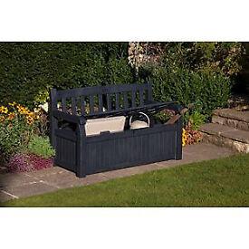 Keter Wood Effect Plastic Bench Storage Box - Grey