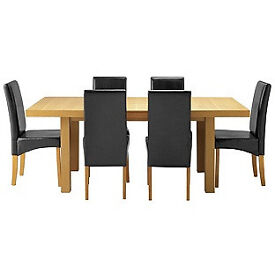 Cosgrove Ext Oak Stain Dining Table-6 Black Chair