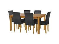 Ashdon Oak Stain 150cm Table & 6 Black Mid Back Chairs