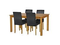 Ashdon Oak Stain 120cm Table & 4 Black Mid Back Chairs