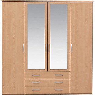 New Hallingford 4 Dr 3 Drw Mirrored Wardrobe - Beech Effect
