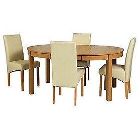Massey Wood Effect Extendable Table and 6 Cream Chairs