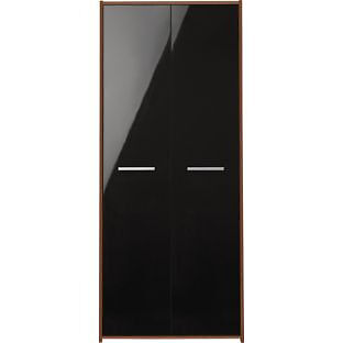 New Sywell 2 Door Wardrobe - Walnut Effect and Black Gloss
