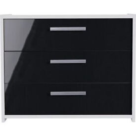 New Sywell 3 Drawer Chest - White and Black Gloss