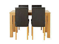 Pemberton Oak Effect Dining Table & 4 Chocolate Chairs.