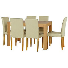 Penley Oak Stain Extendable Dining Table and 6 Cream Chairs