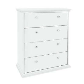 HOME Canterbury 4 Drawer Wide Chest of Drawers - White