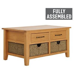 Collection Somerby Coffee Table with 2 Seagrass Baskets-Oak