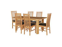 HOME Shepstone Extendable Table & 6 Paris Chairs -Chocolate