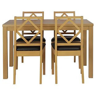 Ashby 120cm Dining Table and 4 Chairs - Oak Stain Chocolate