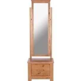 New in Box Schreiber Constable Mirror with Drawer - Oak RRP £249