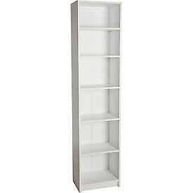 Maine Half Width Tall Extra Deep Bookcase - White