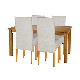 """Lincoln Oak Effect 120cm Dining Table and 4 Pale Grey Chairsin Sheffield, South YorkshireGumtree - perfect condition. Call or message me if interested. Brand new item """"Table Size H75, L120, W73cm. Solid Pine table. Solid Pine legs. Chairs 4 chairs. Size of each chair H98, W32, D46cm. Wood frame. Wood legs. Fabric seat pads and back rest. General..."""