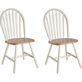Collection Kentucky 2 White and Natural Stain Dining Chairs