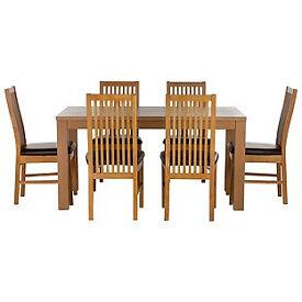 Pemberton Oak Effect Dining Table & 6 Paris Chairs