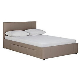 Hygena Paxton Double Bed with Storage — Latte.
