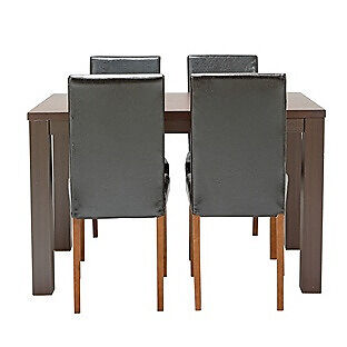 HOME Pemberton Dining Table & 4 Chairs -Walnut Effect Black