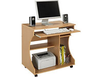 Curved Computer Desk Trolley - Beech Effect