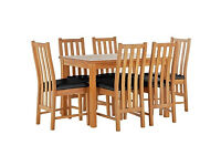 Stanford Oak Effect 150cm Dining Table and 6 Black Chairs